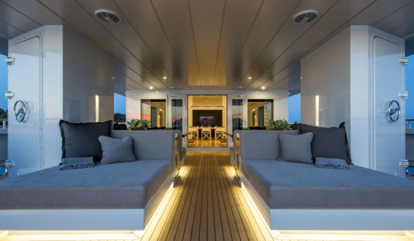 The aft deck of the motor yacht Sexy Fish