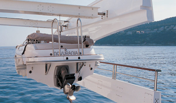 Overhead tender crane construction superyacht Hadia by Diana Yacht Design