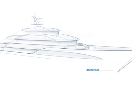 Sketch of Bluebird concept yacht