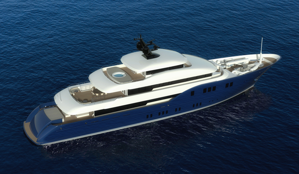 Birdview of conceptyacht Bluebird