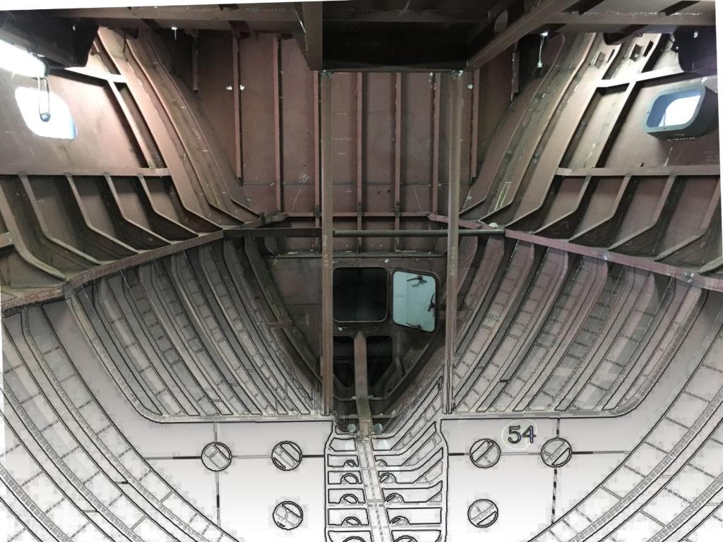 Bijoux - Construction hull overloop tekening naar foto