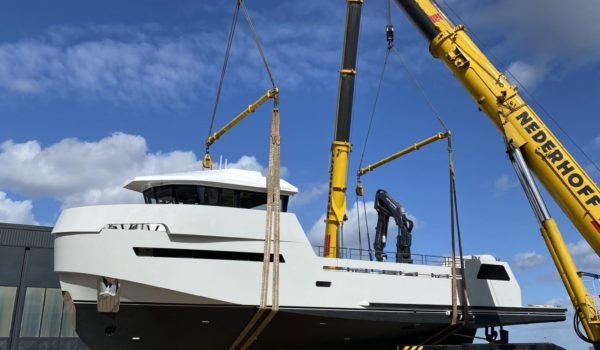Launch of the YXT, March 2020 at Lynx Yachts in Nijkerk