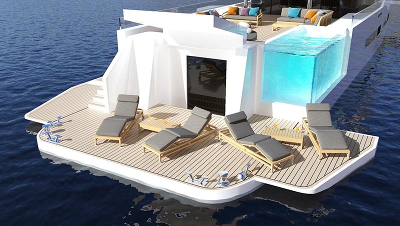 Concept yacht Zenith - extendable swim platform