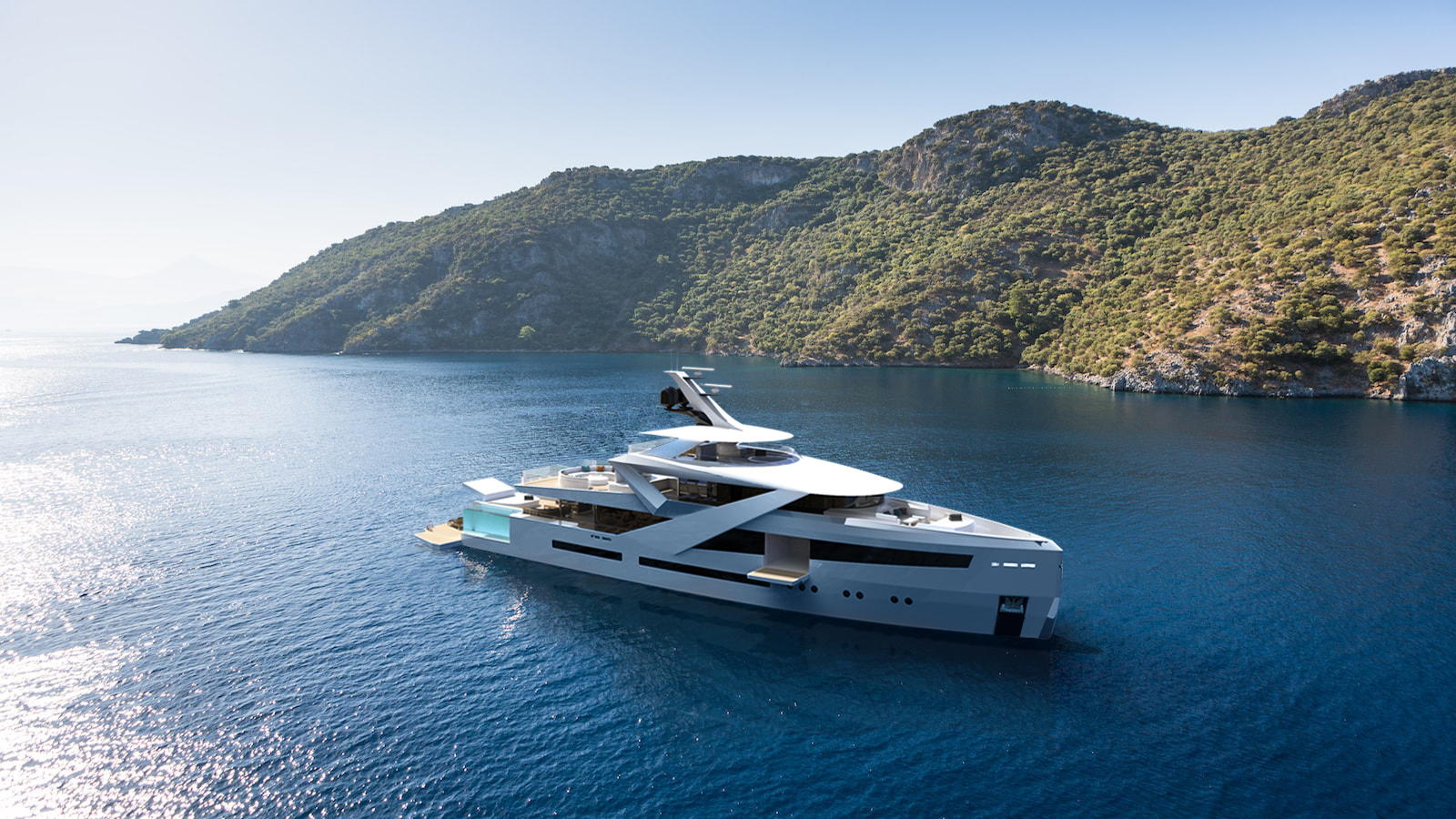Concept yacht Zenith at anchor