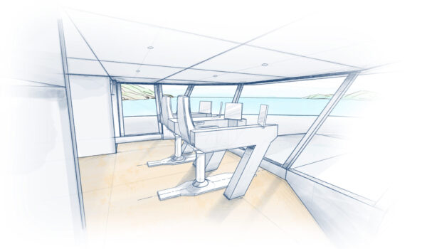 DIANA R.50 - Sketch of the bridge - concept design by Diana Yacht Design