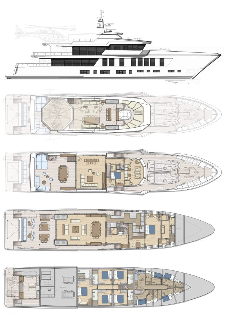 DIANA R.50 - General Arrangement - Concept Design - Diana Yacht Design