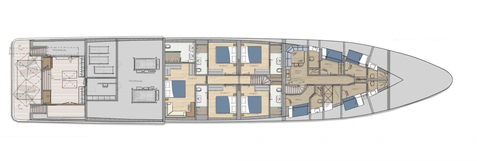 DIANA R.50 - lowerdeck - superyacht concept design