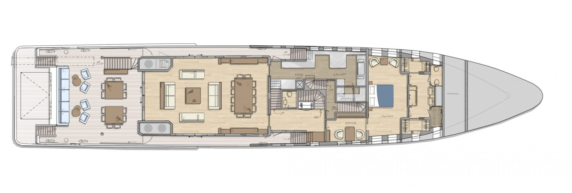 DIANA R.50 - maindeck - superyacht concept design by Diana Yacht Design
