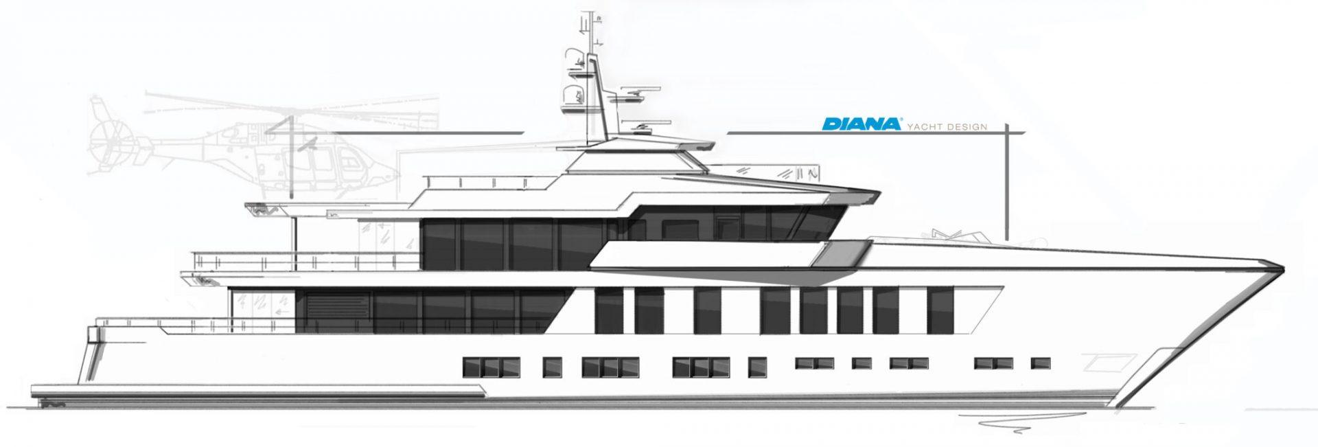 DIANA R.50 profile sketch concept design yacht